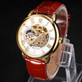 New brand luxury Mechanical watch men Black Leather Gold Dial Skeleton Sport Wrist Watch high quality relogios masculino