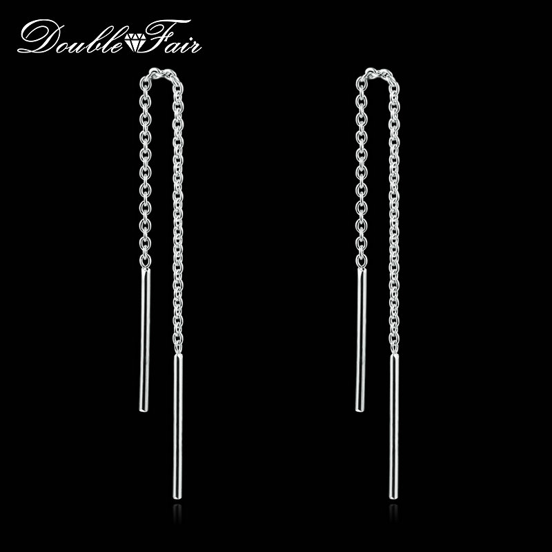 OL Style Long Line Chain Drop/Dangle Earrings Rose/White <font><b>Gold</b></font> Plated Fashion Brand Jewelry <font><b>Strike</b></font> Ear Cuff For Women DFE236