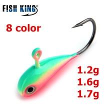 FISH KING 5Pcs/pcak ice Fishing lures Jig head hook 8 Color Four Sets 1.2g 1.6g 1.7g Mini Lead Winter fishinghooks