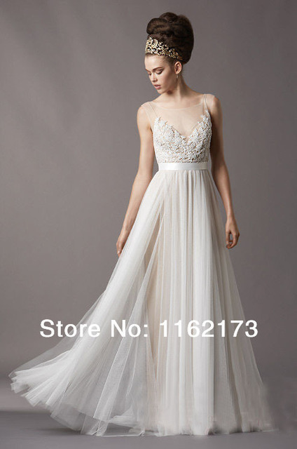 Extravagant Sheer Neckline Floor length Tulle Wedding Dress with ...