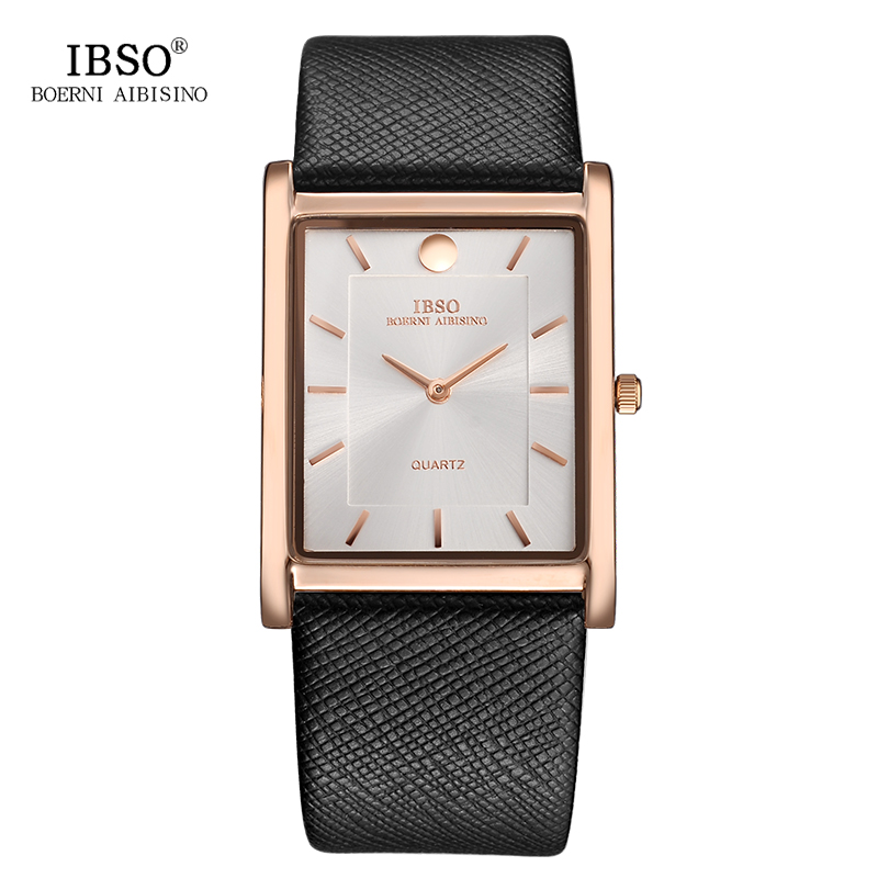 IBSO Rectangle Dial Ultra Thin Watches Mens Black Fashion Leather Strap Relogio Masculino 2018 Top Brand Quartz Wristwatches oulm brand mens rectangle leather strap hand wind mechanical watch fashion casual wristwatches with gift box relogio releges