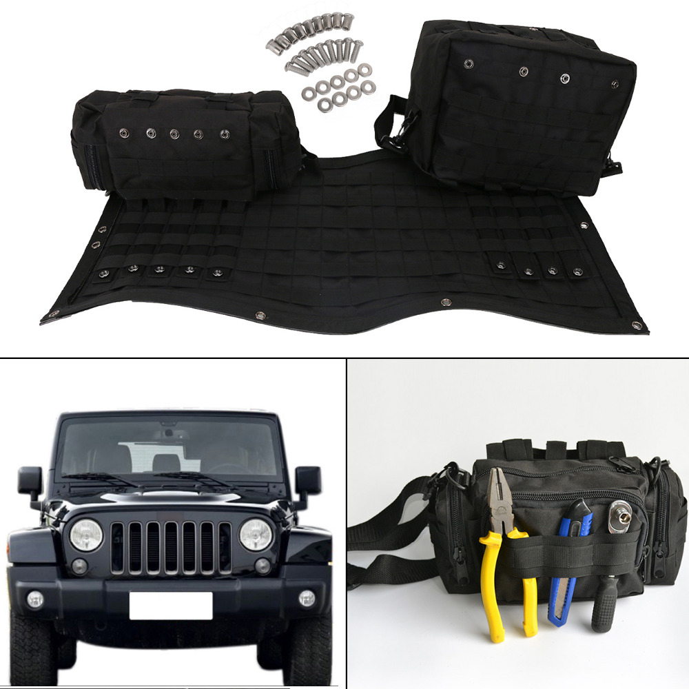PVC/oxford Tailgate Cover Multi-Pockets Storage  Bag Luggage & Tool Kit & Cargo Bag Saddlebag For Jeep Wrangler JK 2007-2017 // windshield pillar mount grab handles for jeep wrangler jk and jku unlimited solid mount grab textured steel bar front fits jeep