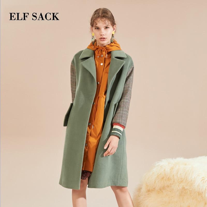ELF SACK Autumn New Woman 31 7 Wool Coats Turn down Collar Patchwork Casual Loose Woman