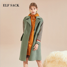 ELF SACK Autumn New Woman 31.7% Wool Coats Turn-down Collar Patchwork Casual Loose Woman Wool Blends Femme Straight Full Coats