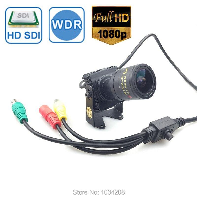 2.0MP 1/3 Panasonic CMOS Sensor Full HD 1080P Mini SDI CAMERA Digital CCTV Security SDI Camera OSD Menu 2.8 12mm varifocal lens