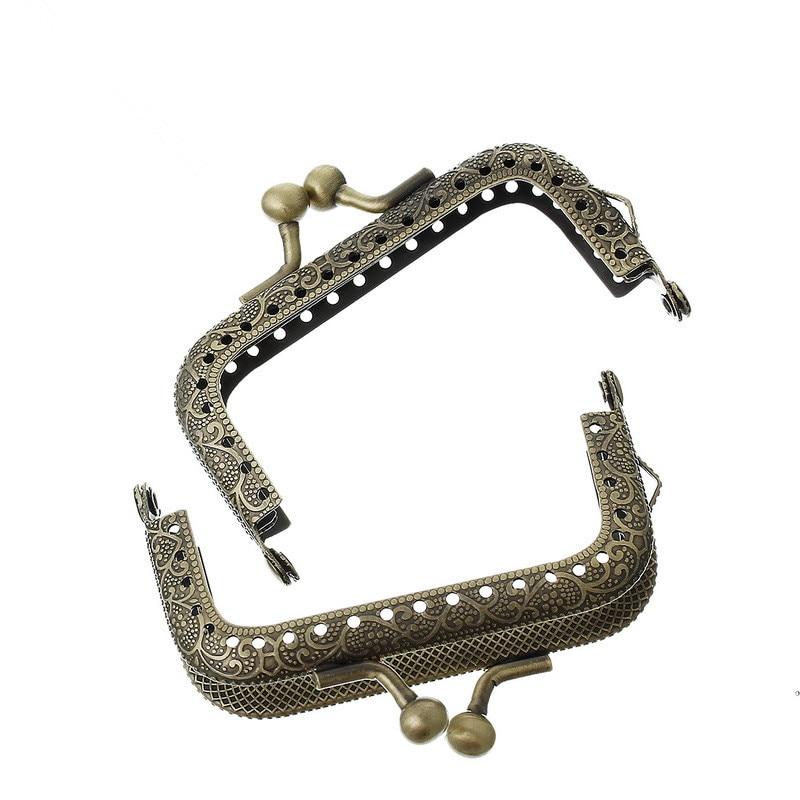 5Pcs DIY Clutch Arc Metal Frame Kiss Clasp Lock Antique Bronze Tone Coins Purse Handbag Handle Making 7.7x5.4cm