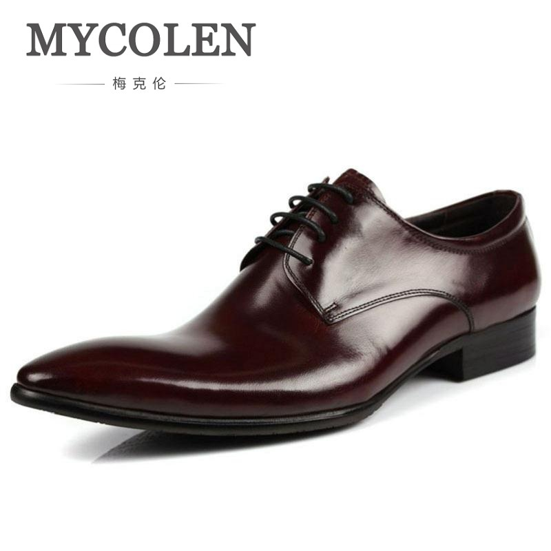 MYCOLEN Formal Mens Dress Shoes 2018 New Genuine Leather Brown Wedding Italian Fashion Male Shoes Black Zapatillas Hombre mycolen mens genuine leather shoes dress italian leather male shoes elevator glitter black brown business shoes four seasons