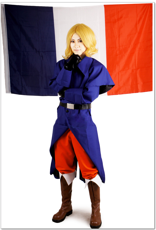 Free Shipping Axis Powers Hetalia French Republic Francis Bonnefoy Uniform Anime Cosplay Costume