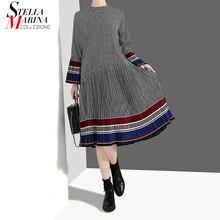 Новинка, женское модное осеннее Стильное элегантное черное платье в клетку с длинным Расклешенным рукавом, повседневное милое платье миди, стиль 4629