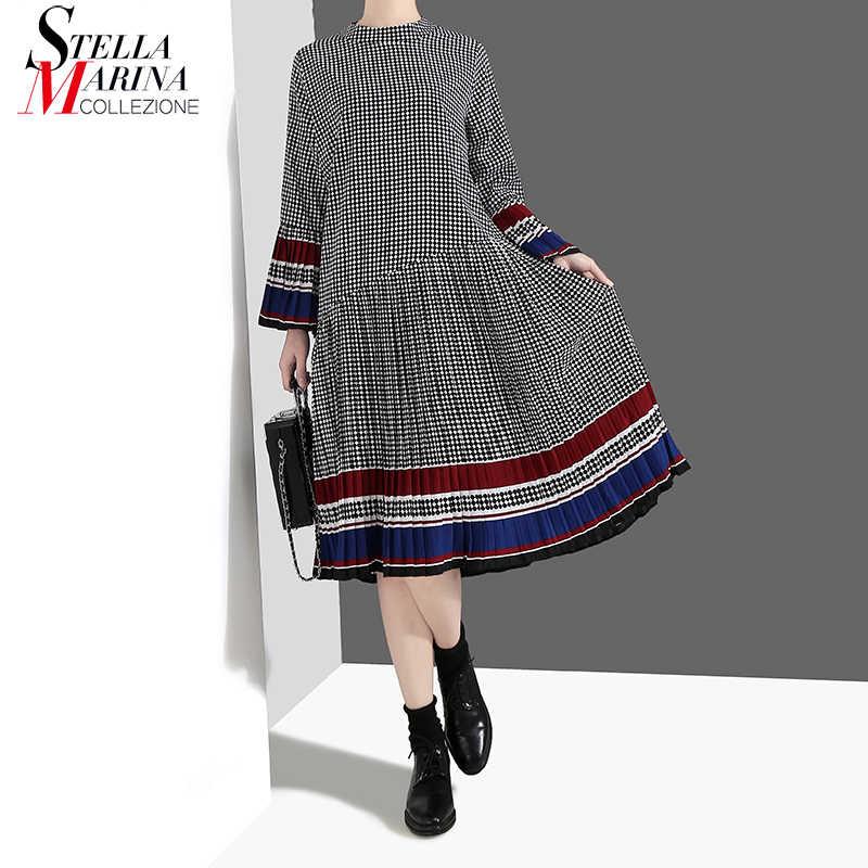 Женское клетчатое платье, черное повседневное платье средней длины с длинными рукавами-колоколами, модель 4629 на весну и лето, 2019