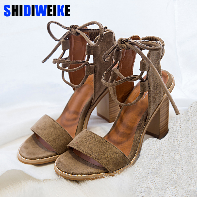 SHIDIWEIKE 2018 Sexy Women Pumps Open Toe Lace up Heels Sandals Woman sandals Thick with Women Shoes women High heels M298 2018 fashion women pumps sexy open toe heels sandals woman sandals thick with women shoes high heels s144