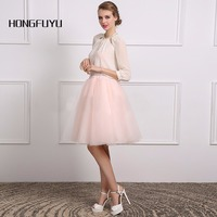 100% Real Photo Sexy White Chiffon Pink Tulle A Line Three Quarter Short Cocktail Dress 2018 Knee Length Party Dress