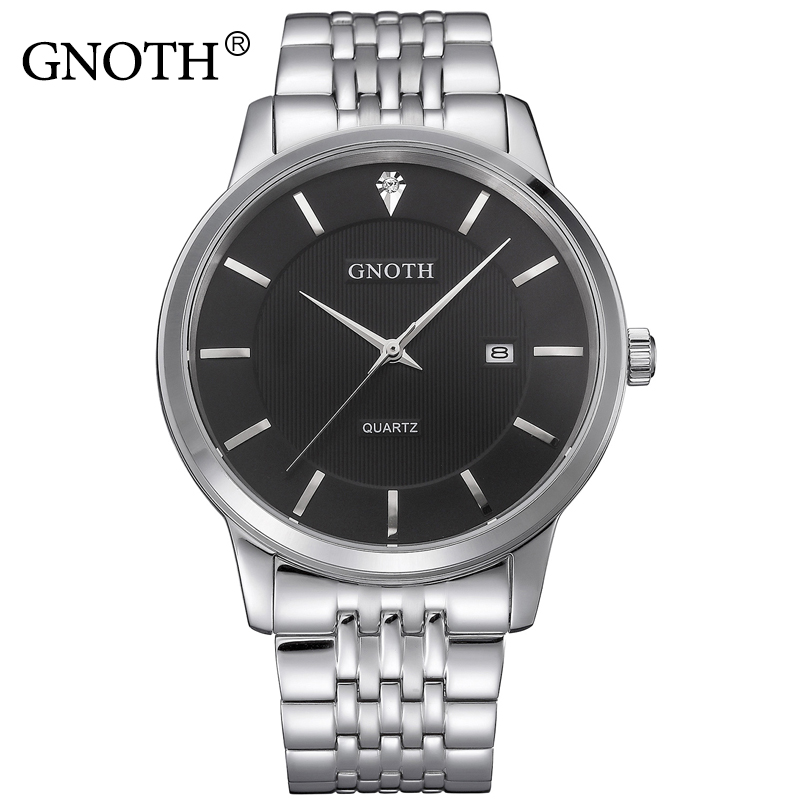 Men Watch Original Top Brand GNOTH Steel Band Male Hours Waterproof Wristwatches Date Display Fashion Male Clock Gift Hot Sale сумка trussardi jeans 75b00007 1y090125 u616