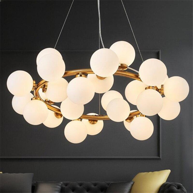 Europea Magic Bean светодио дный подвесные светильники Гостиная Кухня Стекло Мяч Блеск подвесные люстры, лампы светило светильники