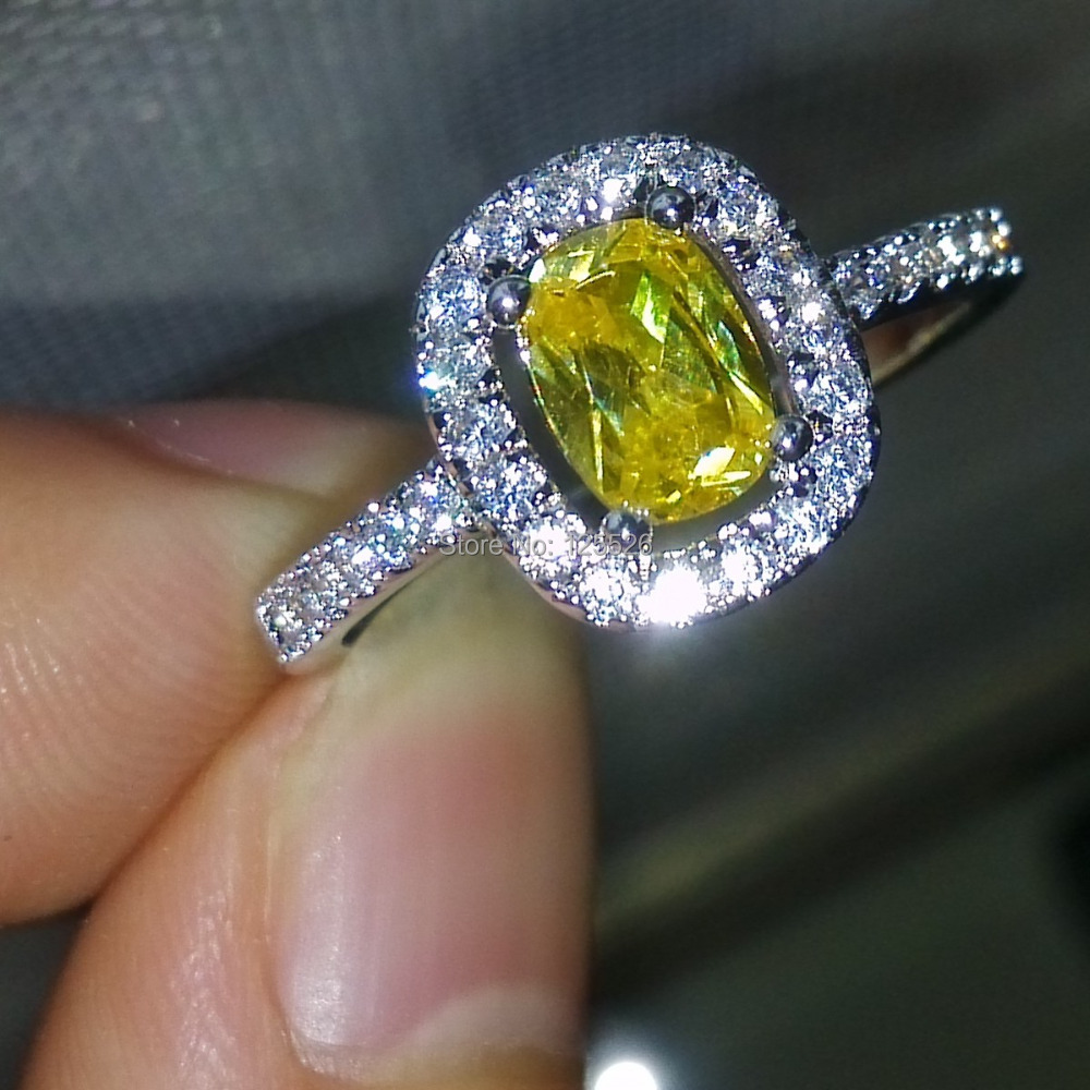 Victoria Wieck Nice Stunning Yellow Diamonique Cz 10kt White Gold Filled Wedding  Ring Sz 510 Gift Free Shipping