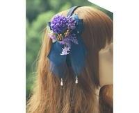 Princesa lolita dulce horquilla Hortensias cla Lolita Púrpura Violeta Flor de Mariposa de La Perla colgante horquilla hilo KC MHTSP018