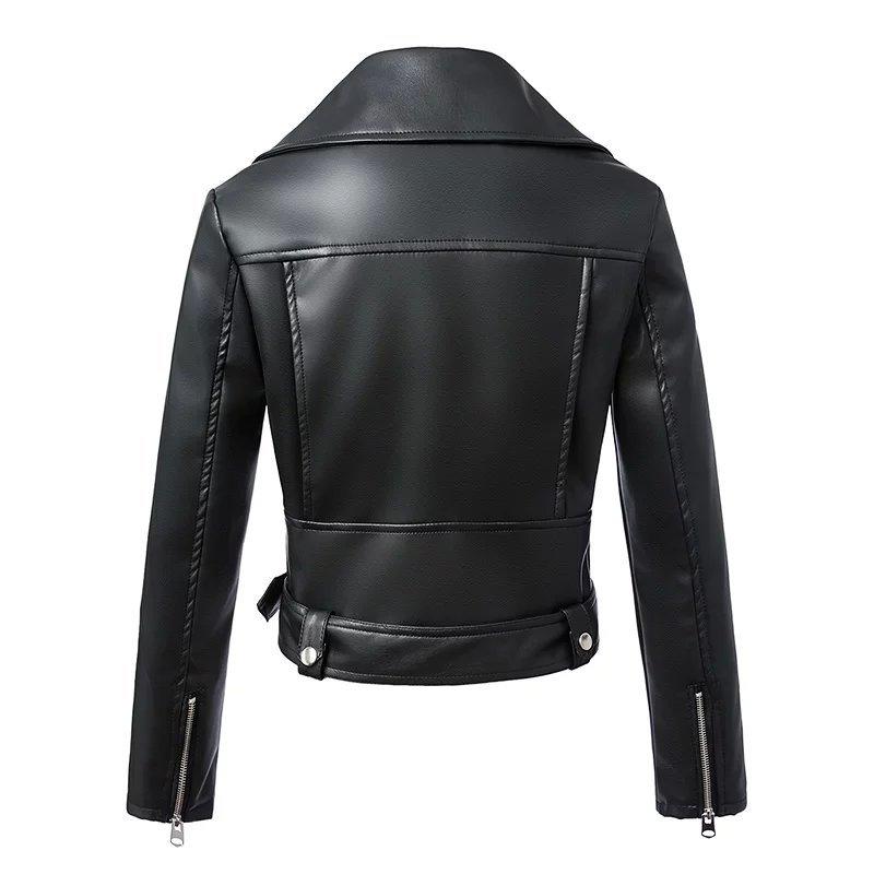 Black Zipper Long Sleeve Motorcycle Punk Faux Soft Leather Jacket Coat 2