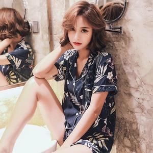 Image 5 - 2019 Summer New Ladies Pajamas Set Comfort Cotton Satin Floral Navy Turn down Collar Cool Sleepwear Female Leisure Wear Homewear