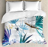 Tropical Duvet Cover Set Watercolor White Parrot Birds on Palm Tree Branches Leaves Exotic Nature Artwork, 4 Piece Bedding Set
