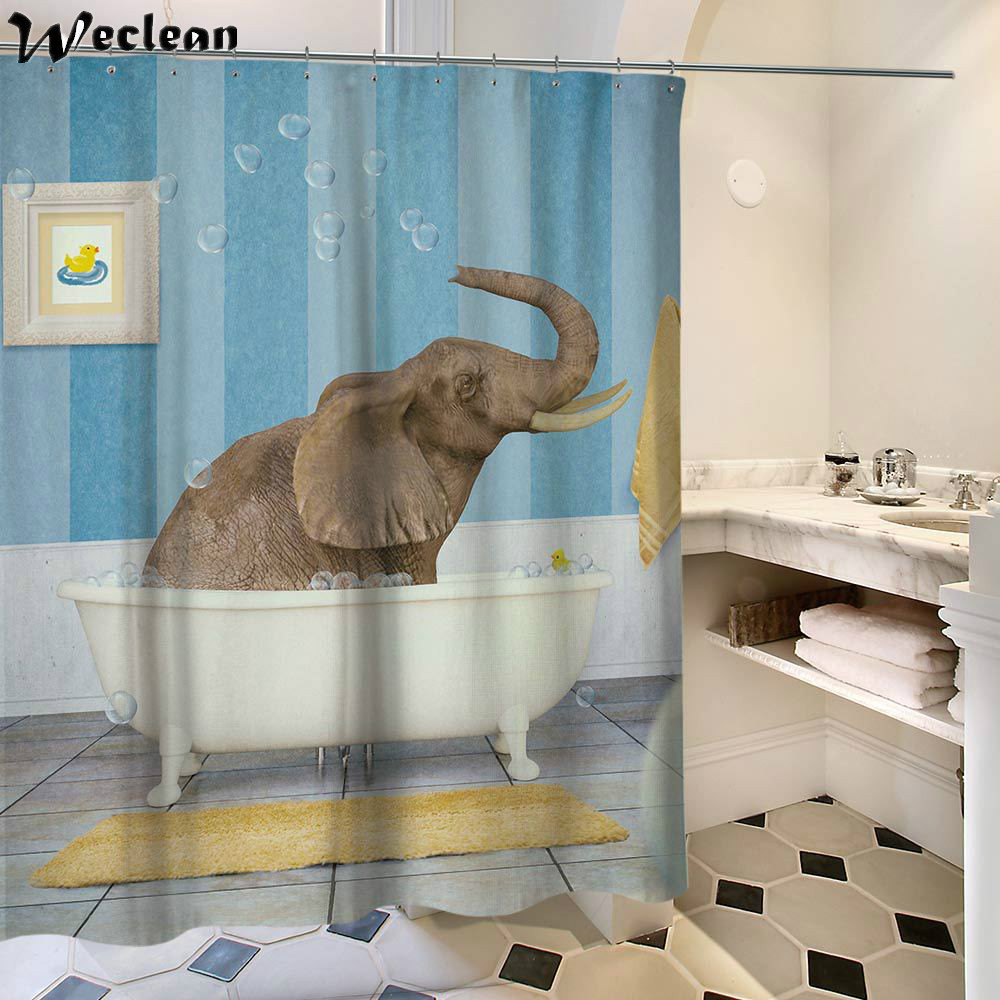 Weclean 1 Piece Creative Design Elepant Printed Bath Curtain Mould ...