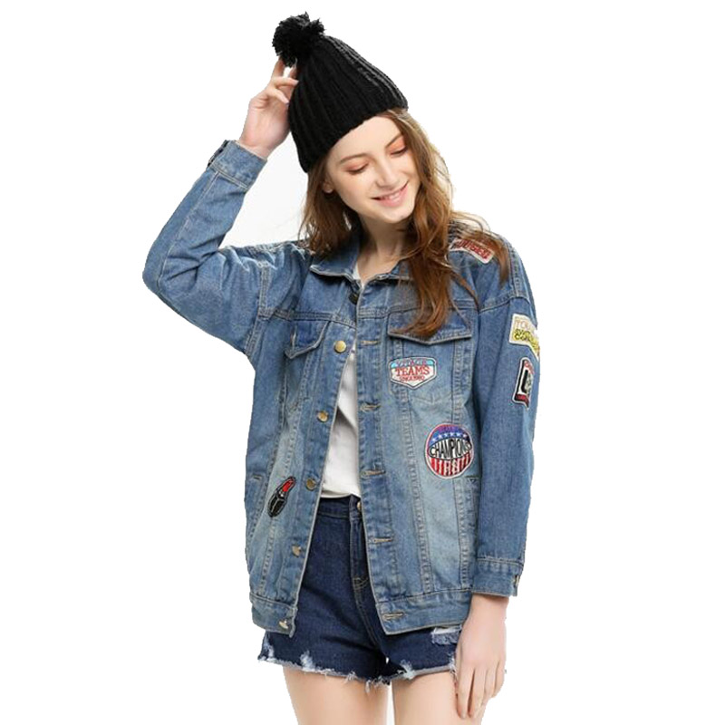 Boyfriend Denim Jackets Women Jean Coat Vintage Outwear Autumn Patch