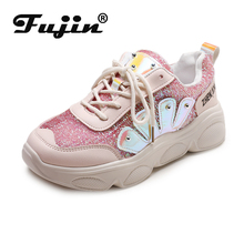 купить Fujin Women Sneakers Platform Shoes Woman Spring Autumn Pink Shiny Bling Vulcanize Shoes Flats chunky sneaker Lace Up Women по цене 1107.41 рублей
