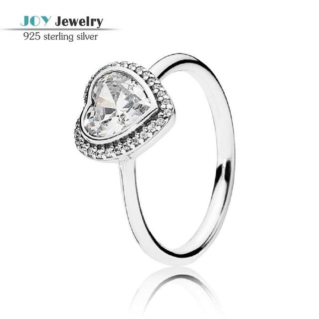 2015 Spring Elegant Big Heart Rings For Women AAA Crystal Heart Stone 925 Sterling Silver Love Wedding Engagement Rings RIP123