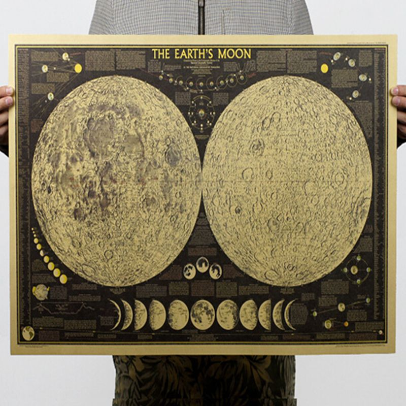 Retro Moon Map Poster Home Art Posters Living Room