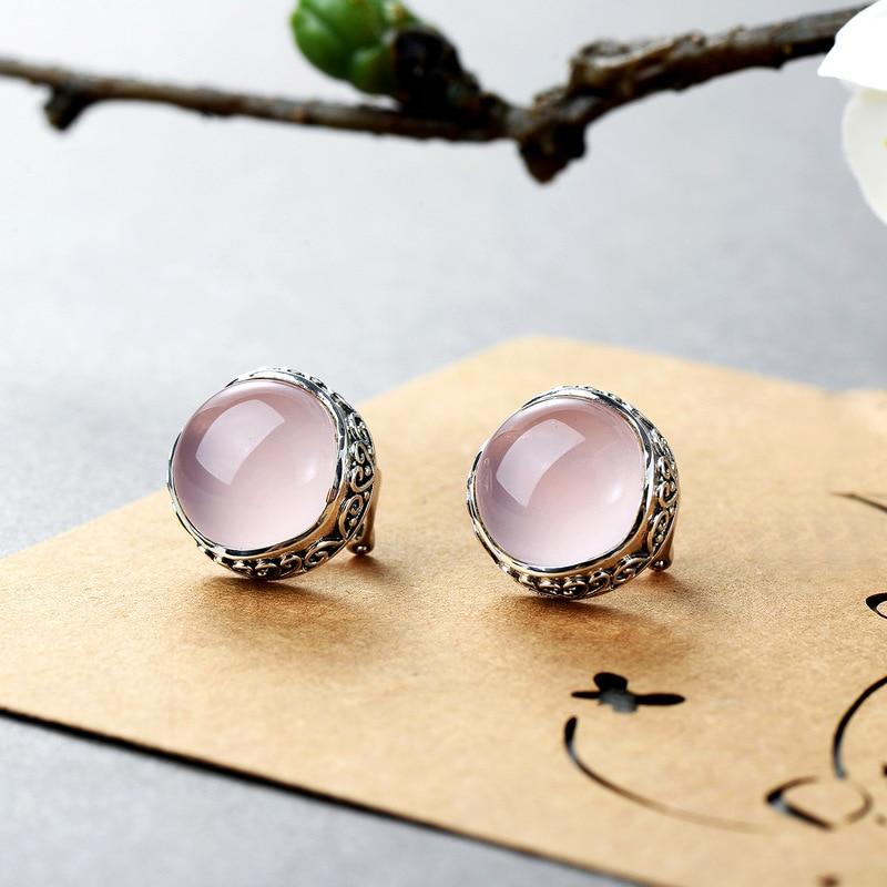 Jewelry 925 Silver Natural Gemstone Rose Quartz Vintage Stud Earring For Women Wholesale Lots Bulk Jewelry