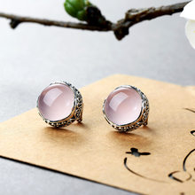 Jewelry 925 Silver Natural Gemstone Rose Quartz Vintage Stud Earring For Women Wholesale Lots Bulk Jewelry Pendientes Mujer Moda(China)