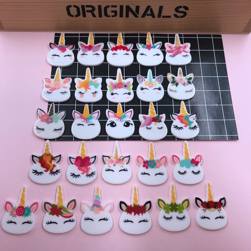 10pcs Resin New Arrival Adorable Cute Planar Unicorn For Crafts Making, Scrapbooking, DIY (about 22*32mm)