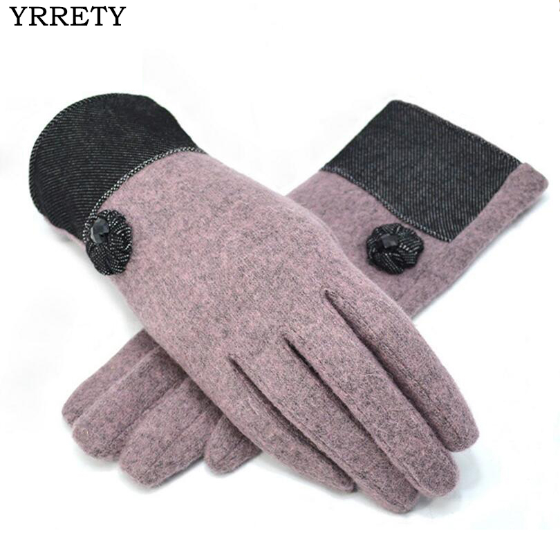YRRETY Winter Warm Wool Cashmere Gloves Women Winter