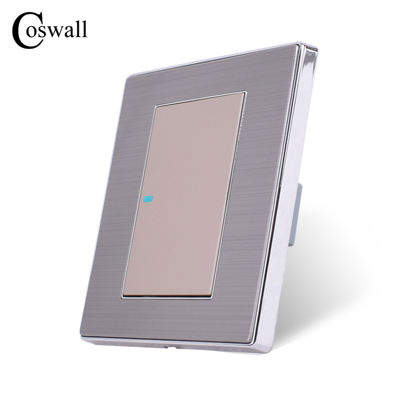 Image 4 - Coswall 1 عصابة 1 طريقة الفاخرة LED مفتاح الإضاءة على/قبالة الجدار التبديل Interruptor نحى الفضة لوحة 10A AC 110 ~ 250V1 gangpush button wallwall light panel -