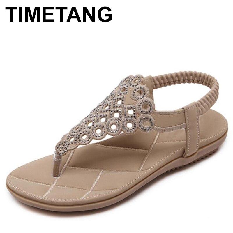 TIMETANG  Gladiator Sandals Women Blossom Bohemian Flat Sand Sandalias Plataforma 2018 Large Size Beach Shoes Women Sandals