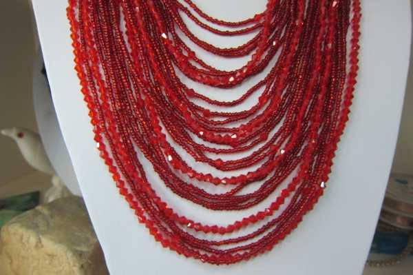 handmade 28 layer Dark red bico crystal seed beads necklace for party