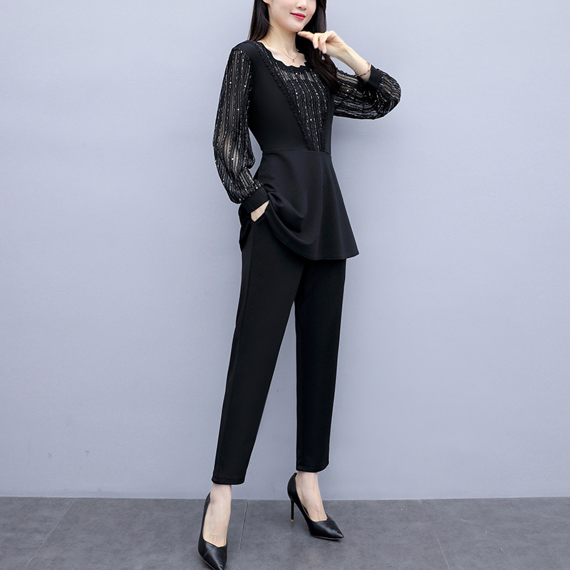 Plus Size Autumn Black Two Piece Sets Outfits Women Long Fake Two Pieces Tops And Pants Suit Elegant Korean Ol Style 2 Piece Set 27