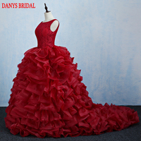 Red Lace Quinceanera Dresses Sweet 16 Princess Organza Ball Gown Prom Dresses Gown For 15 Years