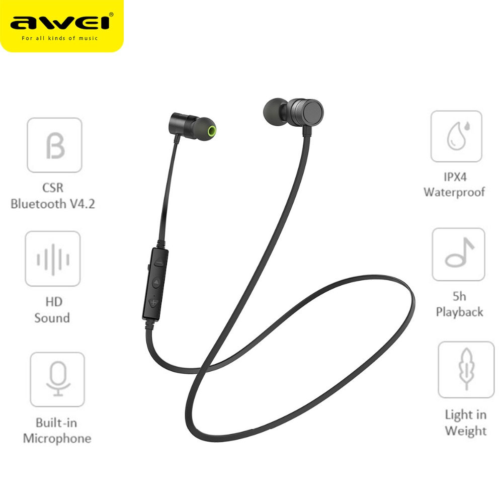 Newest Awei WT20 Sports Earphones Magnet Attraction