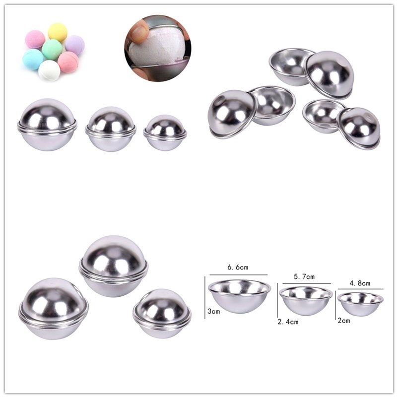 6pcs/pack Bath Bomb Aluminum Alloy Ball Sphere 3D Bath Bomb Mold Cake Baking Pastry Mould Cake Mold  4.8cm 5.7cm 6.6cm