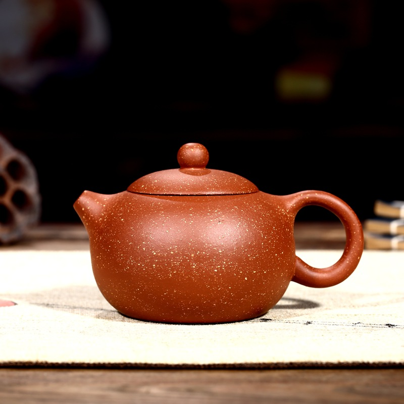 240ml Beautiful Teapot Chinese Yixing Xishi Tea Pot Kungfu Hand Made Potato Pot Dragon Blood Clay Tea Set Teapots