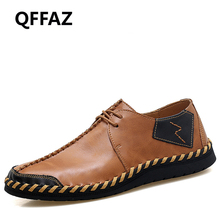 QFFAZ 2018 New Oxford Soft Leather Men Shoes Lace Up Moccasins Breathable Flats High Quality Mens Casual Shoes Big Size 38-47