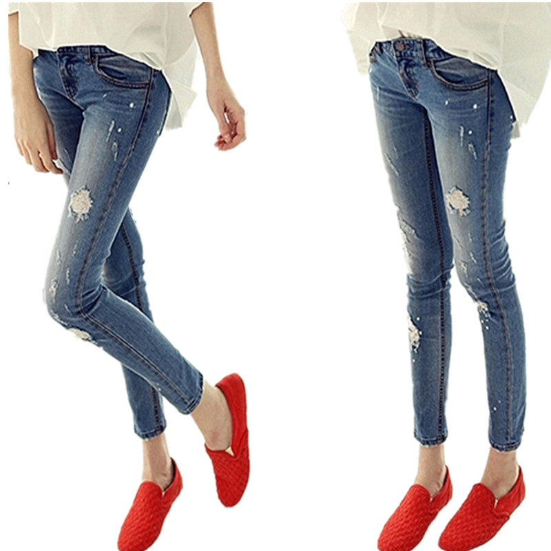 ФОТО Mid Washed Vintage 2016 Woman Skinny Holes Jeans Boyfriend For Women Elastic Blue Ripped Plus Size Zipper Fly Pants Freeshipping