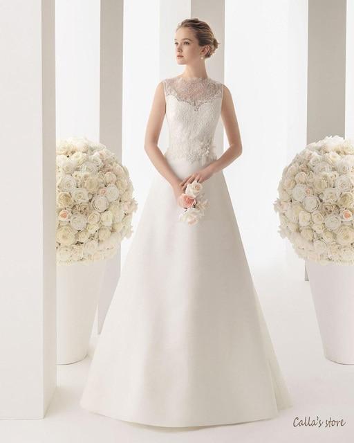 Wedding Dress 2014 Summer new lace bridal dress sleeveless flower princess  zipper V-neck vestido de noiva d8584599d935