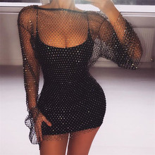 2019 Summer Diamonds Mesh Patchwork Dresses Women Crochet Hollow Out Rhinestone Long Sleeve Party See-through Wrap Mini Dress