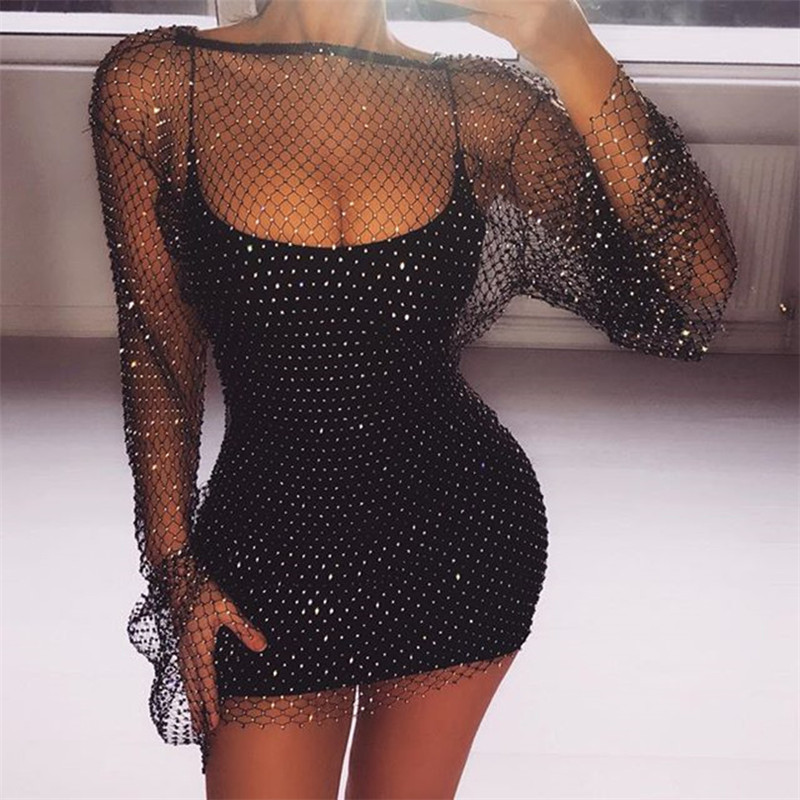 Summer Sexy Sequin Mesh Patchwork Dress Women Crochet Hollow Out Rhinestone Long Sleeve Party Club See Through Wrap Mini Dresses
