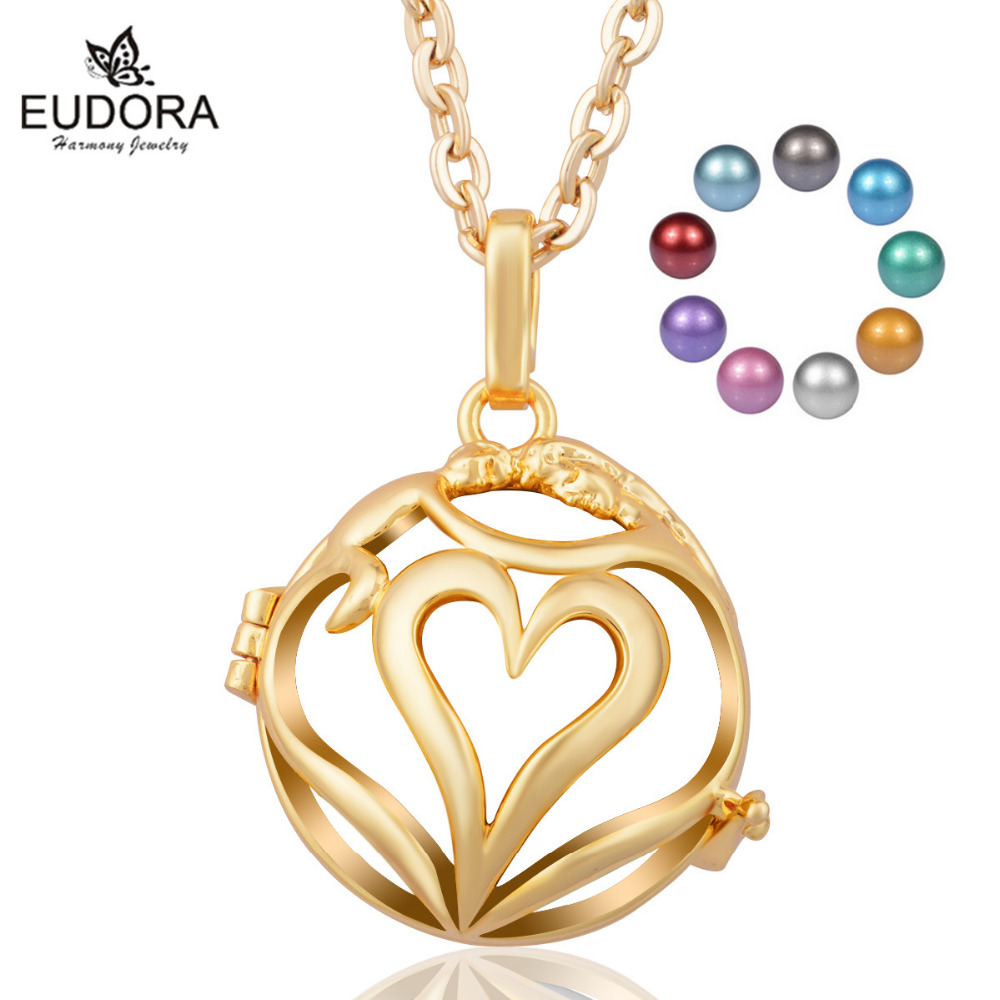 Angel Caller Hollow Heart Gold Color Cage With 20mm Chime Mexican Bola Angel Caller Pendants Necklace for Pregnant Women Gift