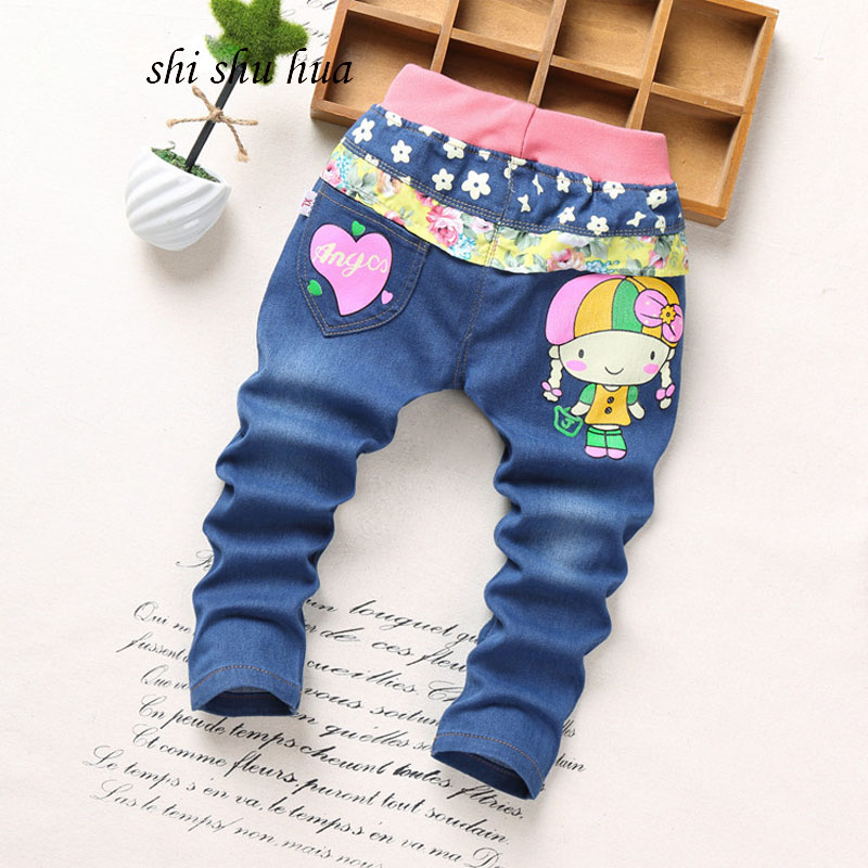 2017 spring and autumn season children's clothing fashion jeans cartoon printing 2-5 years old boys and girls clothes kids pants