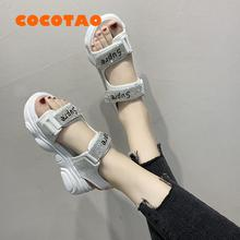 2019 Rhinestonew Muffin Thick-soled Sandals Female Summer Korean Students Fashio