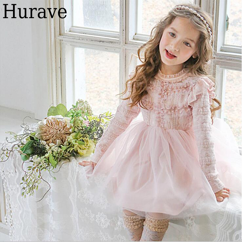 Hurave fashion sweet girl clothes Fashion kids clothes long-sleeved Lolita style lace gauze stitch Princess dress girls clothes sets fashion europe the united states style princess suede tassel horse clip long sleeved dress kids clothes