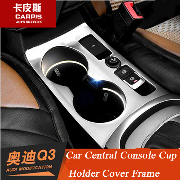 Chrome Car Central Console Cup Holder Cover Trim Car Interior Mouldings For Audi Q3 2013 2014 2015 2016 Accessories Car Styling